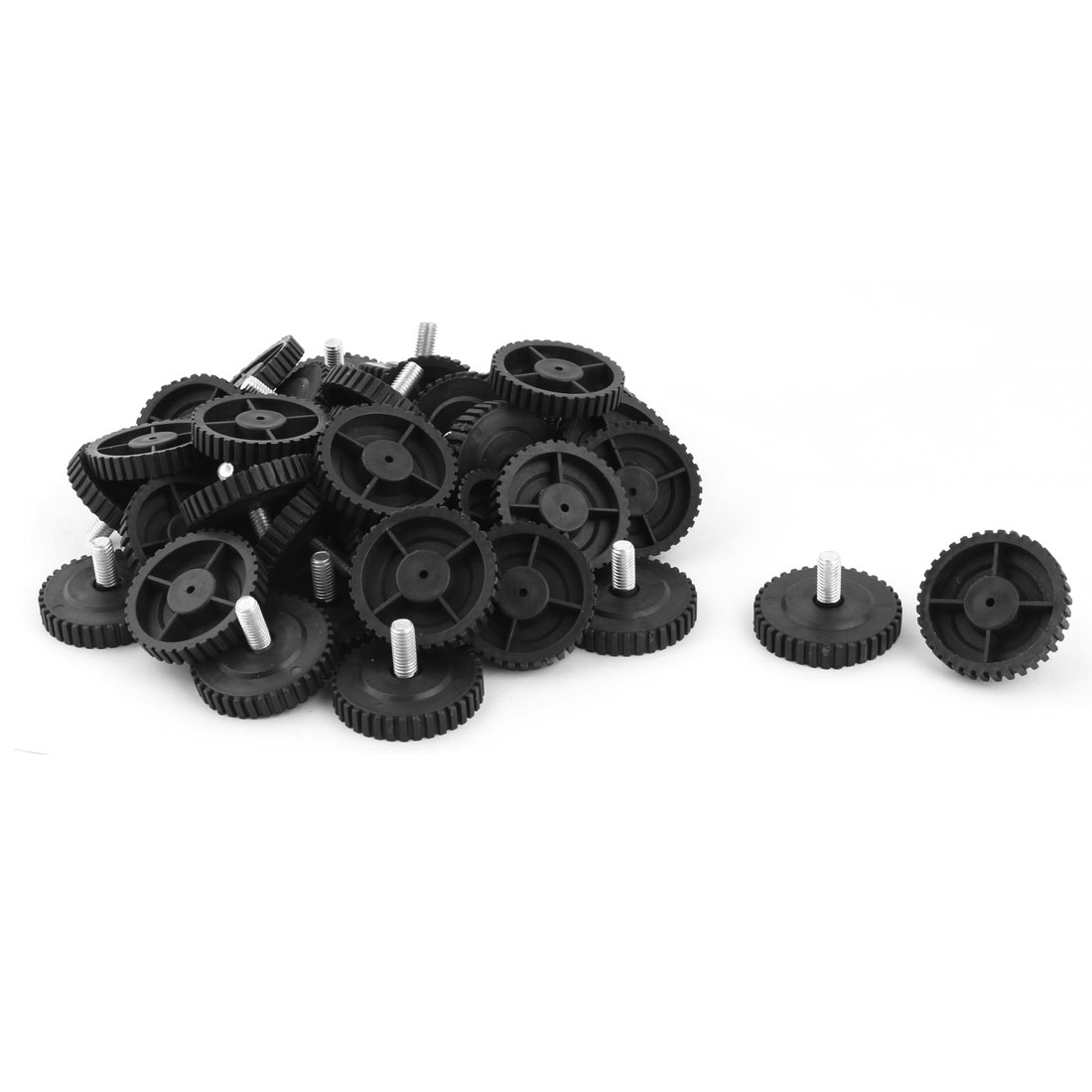 Home Round Skid Resistant Furniture Leg Protector Leveling Foot Nail Black 50pcs