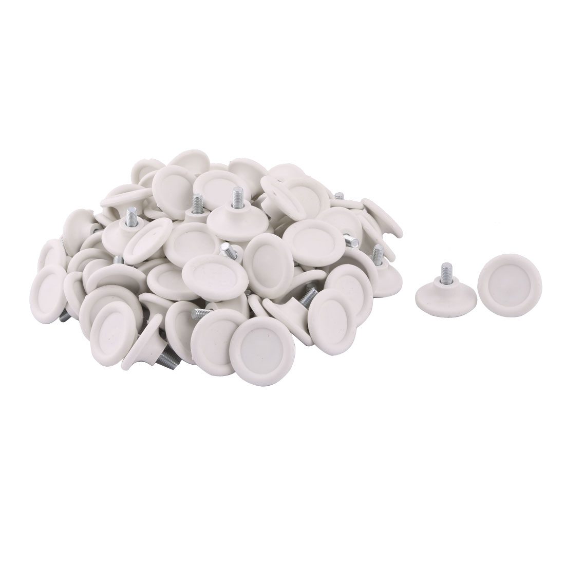 Office Plastic Base Adjustable Furniture Leveling Foot White Silver Tone 45mm Dia 100pcs