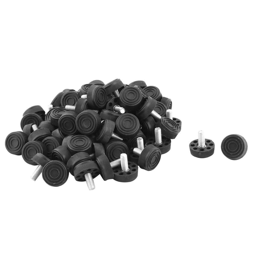 Office Plastic Adjustable Non-slip Furniture Leg Leveling Foot Black 80 Pcs
