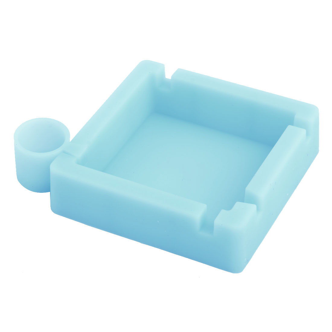 Home Office Car Silicone Heat Resistant Ashtray Cigarette Holder Container Blue