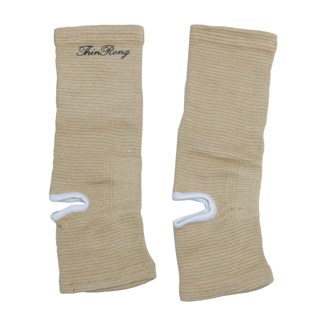 Unisex Sports Running Stretchy Ankle Brace Compression Support Sleeve Light Brown 2pcs