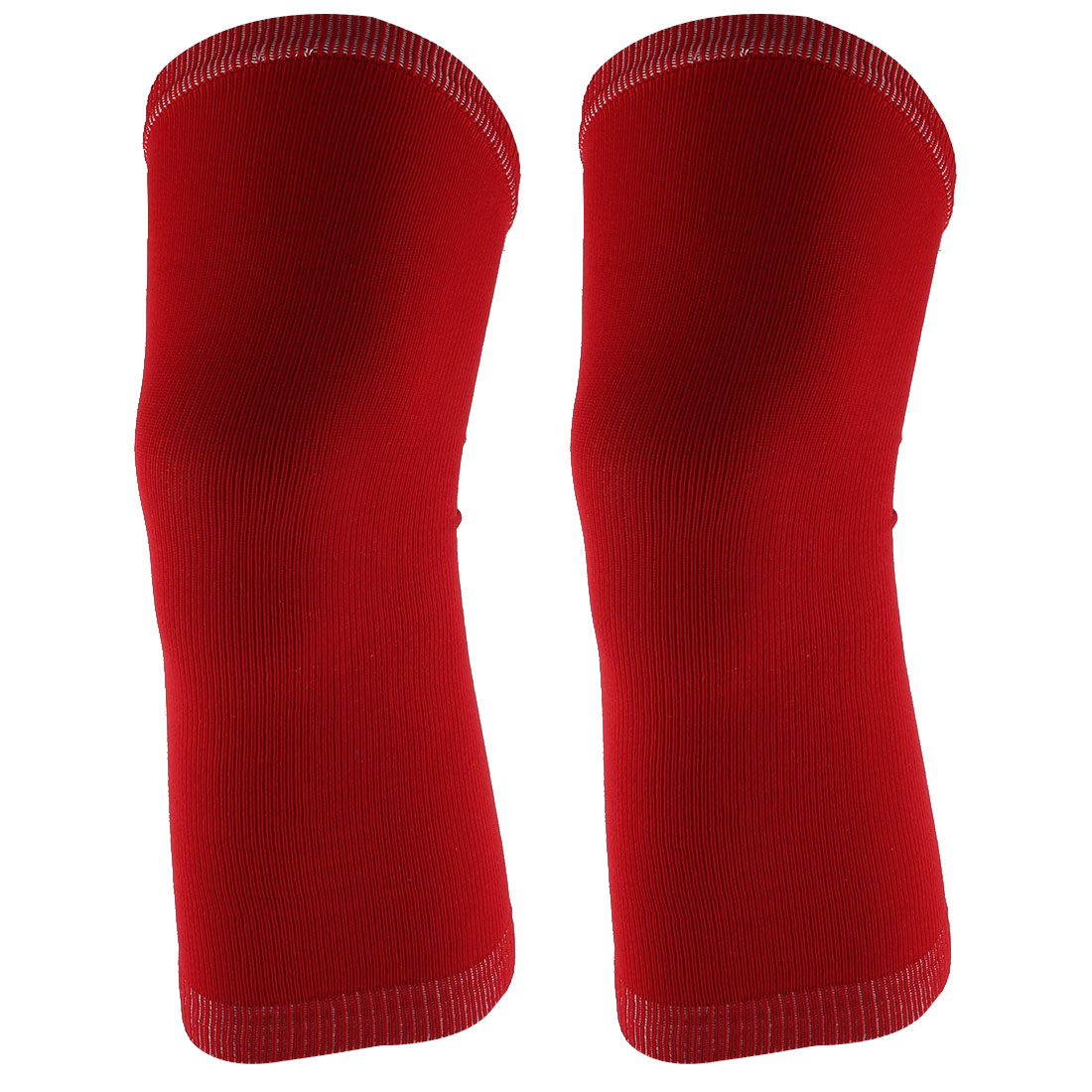 Outdoor Sports Gym Elastic Sleeve Knee Muscle Protector Support Brace Guard Red 2pcs