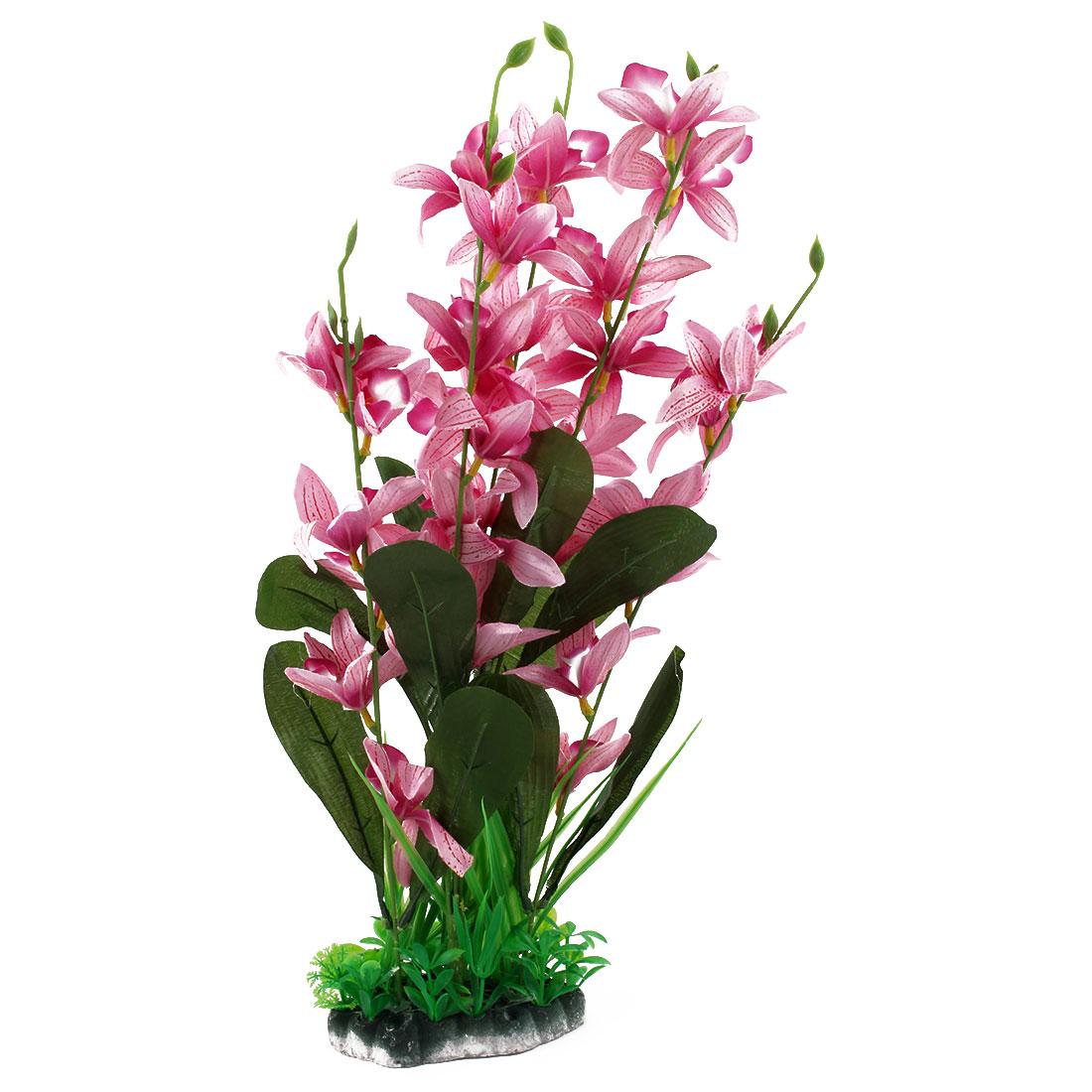 Fish Tank Aquarium Plastic Emulational Flower Plant Ornament Pink Green