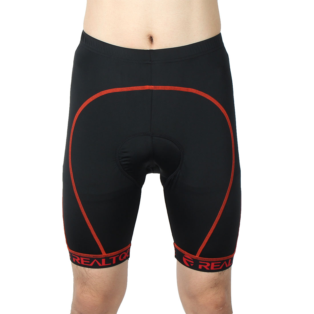 Men Mountain Bike Polyester Fiber Elastic Tights Breathable 3D Padded Cycling Shorts Underwear Red Line W34