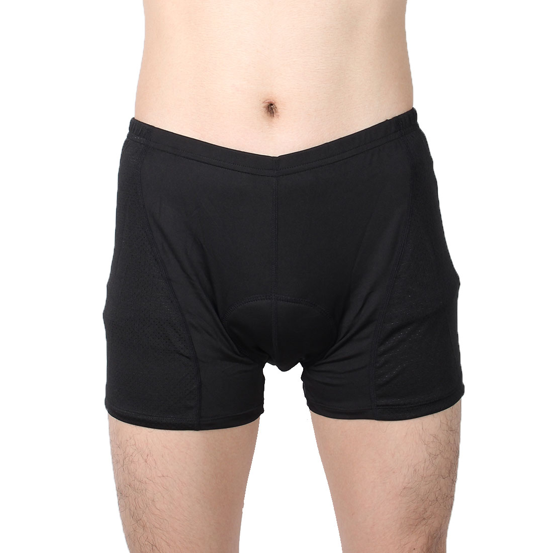 Men Polyester 3D Padded Outdoor Riding Bicycle Biking Underpants Cycling Shorts Black 2XL