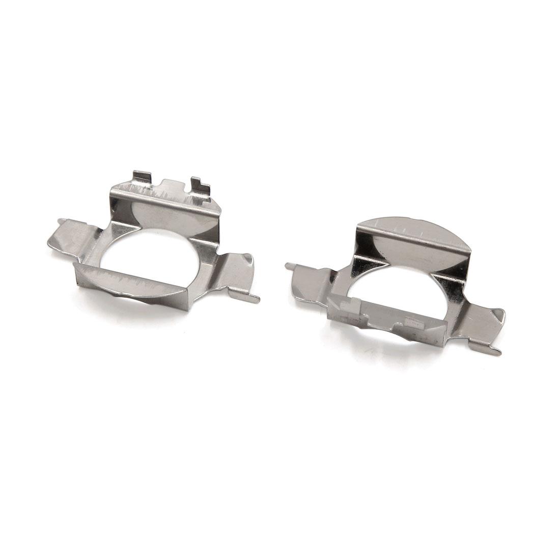 2Pcs Silver Tone Metal LED Xenon Headlight Bulb Holder Adapter Base for New Bora