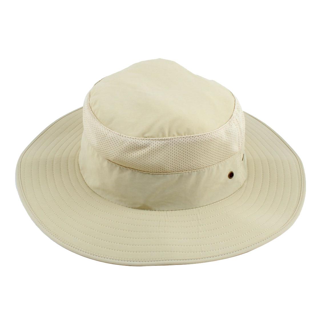 Fisherman Nylon Outdoor Sports Climbing Wide Brim Protector Bucket Sun Summer Cap Fishing Hat Beige