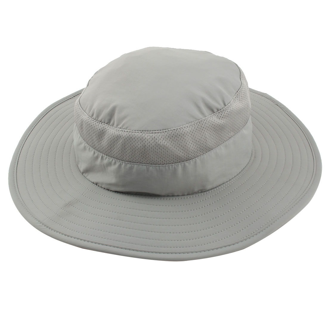 Fisherman Nylon Outdoor Sports Climbing Wide Brim Removable Neck Protector Cloth Bucket Summer Cap Fishing Hat Gray