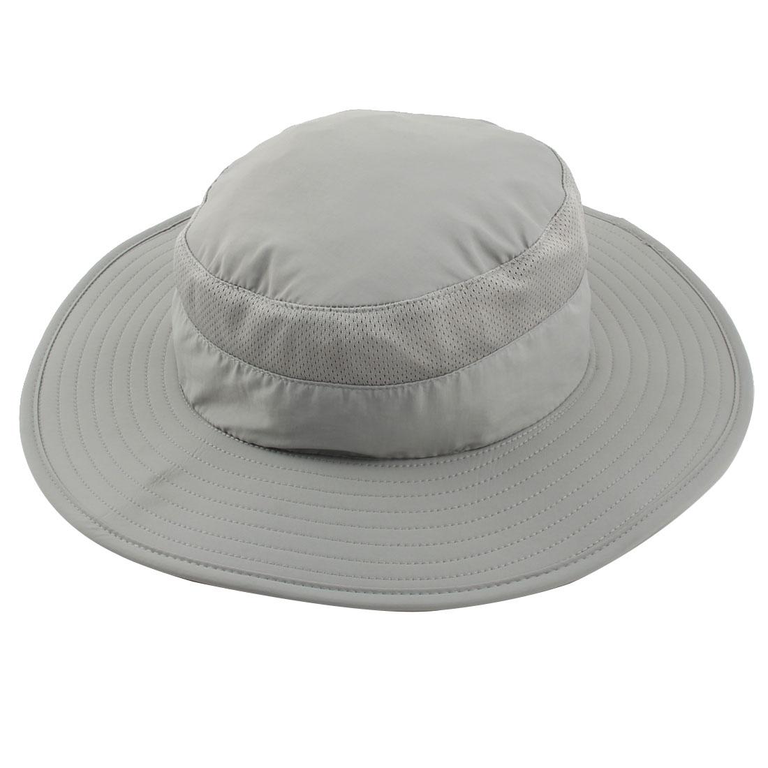 Fisherman Nylon Outdoor Sports Climbing Wide Brim Removable Neck Protector Cloth Bucket Summer Cap Fishing Hat Gray