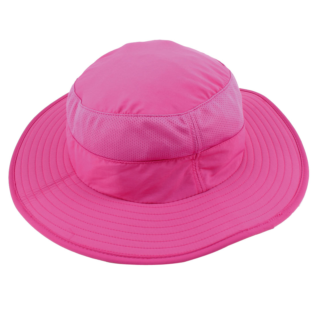 Fisherman Nylon Outdoor Sports Climbing Wide Brim Removable Neck Protector Cloth Bucket Summer Cap Fishing Hat Fuchsia