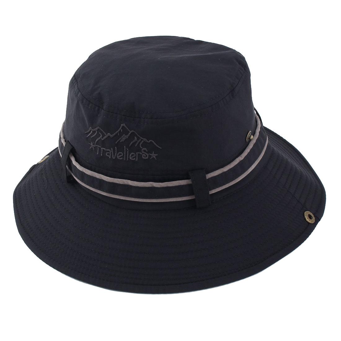 Fisherman Cotton Blends Outdoor Sports Climbing Hunting Adjustable Strap Wide Brim Bucket Summer Cap Fishing Hat Black