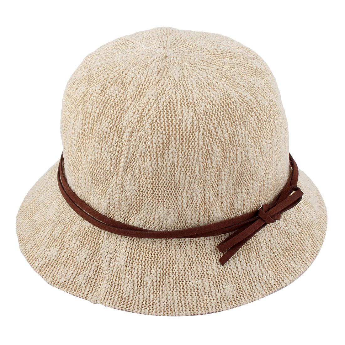 Ladies Women Straw Decoration Foldable Summer Protective Traveling Wide Brim Sun Cap Beach Fishing Hat Beige