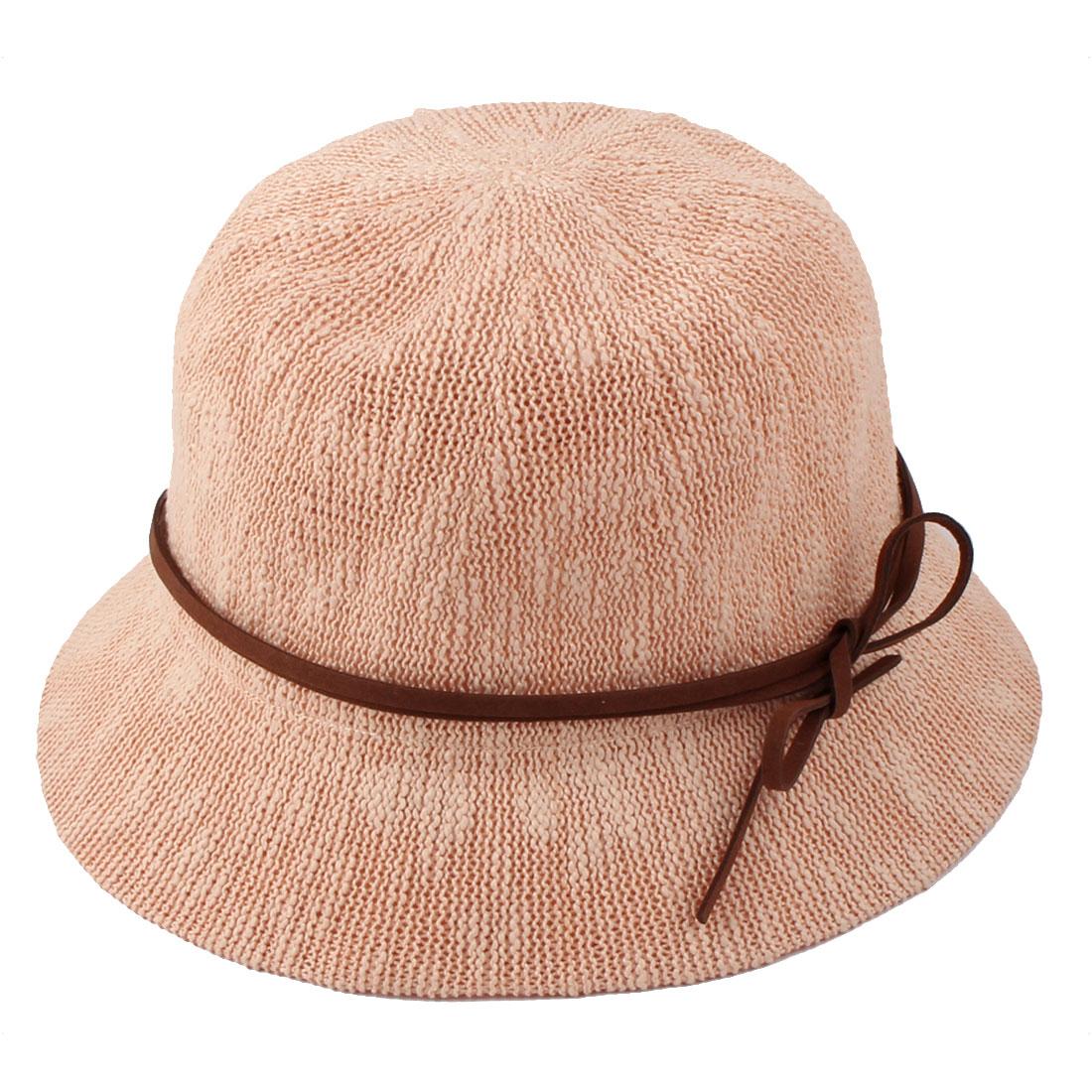 Ladies Women Straw Decoration Foldable Summer Protective Traveling Wide Brim Sun Cap Beach Fishing Hat Light Pink