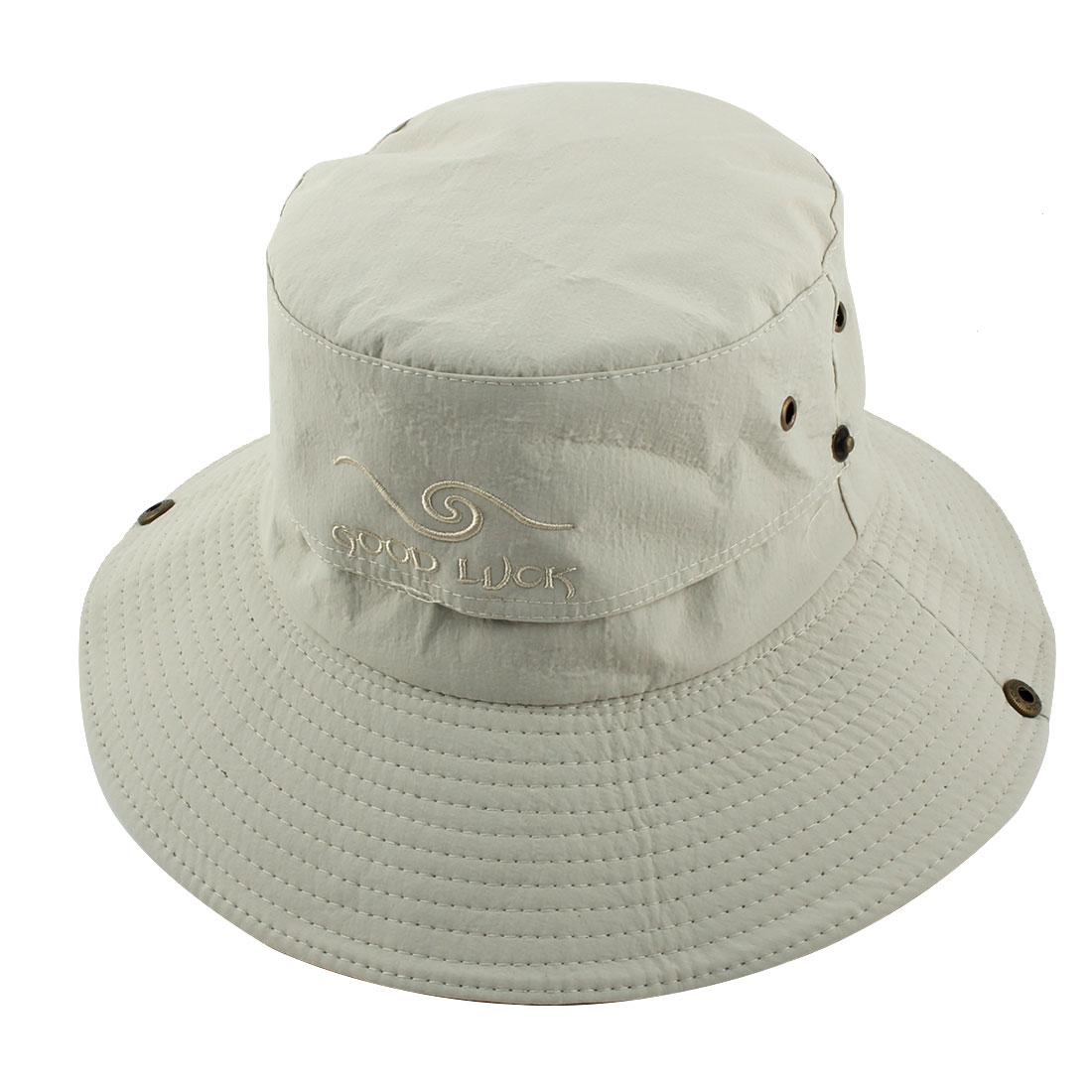 Fisherman Outdoor Sports Hiking Adjustable Strap Mesh Wide Brim Protector Bucket Summer Cap Fishing Hat Beige