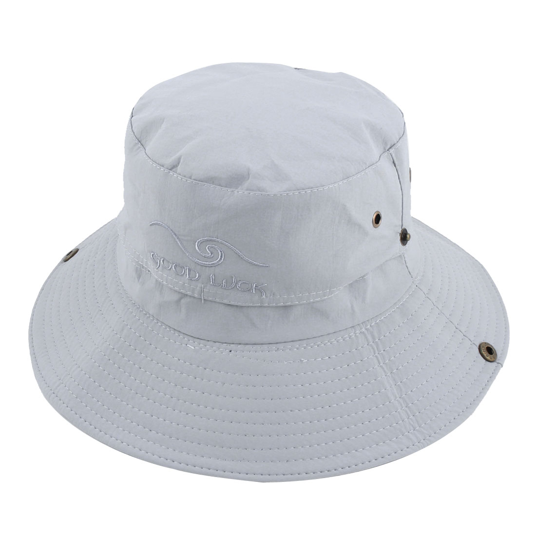 Fisherman Outdoor Sports Hiking Adjustable Strap Mesh Wide Brim Protector Bucket Summer Cap Fishing Hat Gray