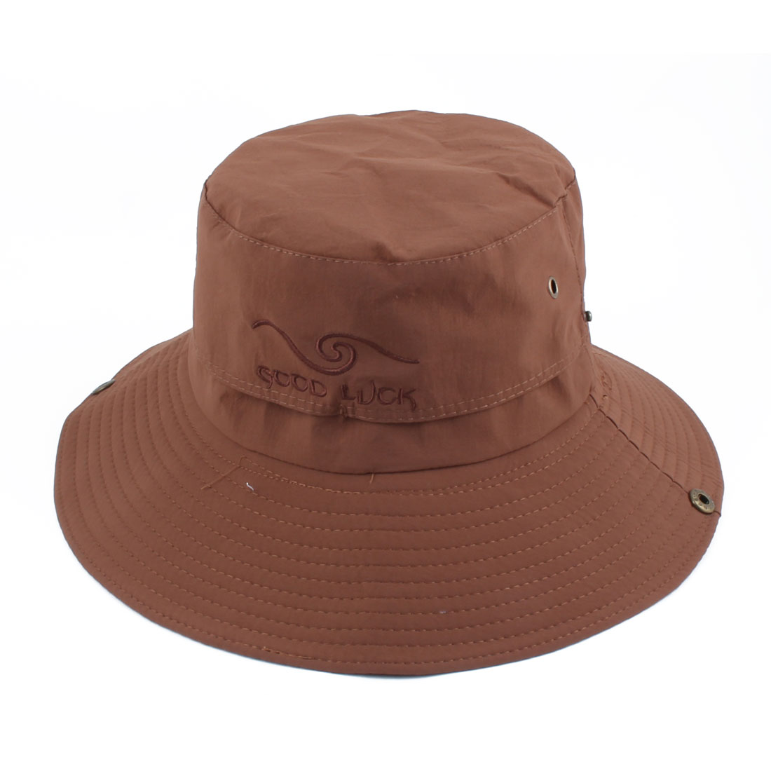 Fisherman Outdoor Sports Hiking Adjustable Strap Mesh Wide Brim Protector Bucket Summer Cap Fishing Hat Brown