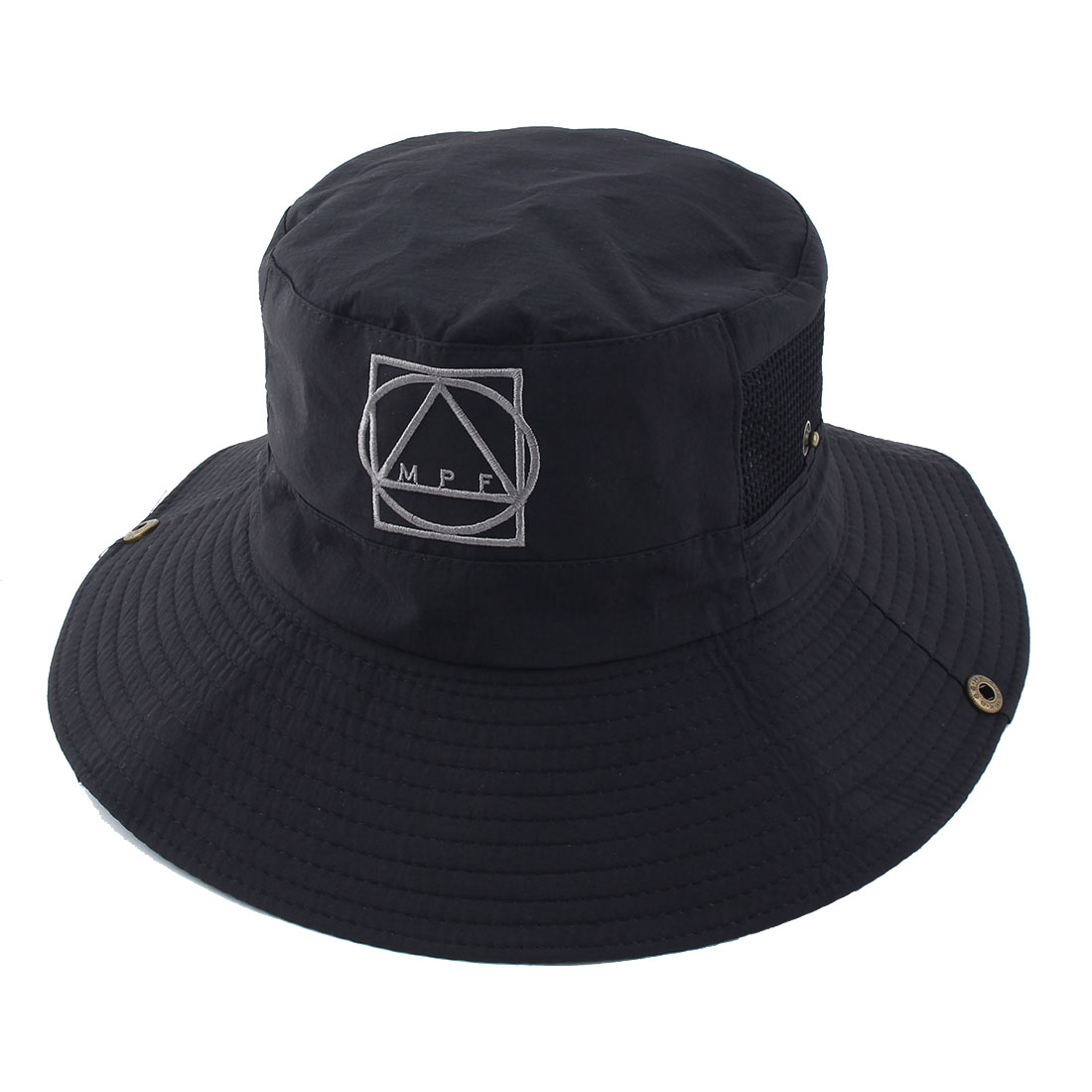 Fisherman Outdoor Hunting Fishing Bucket Polyester Geometric Pattern Mesh Brim Summer Sun Protective Cap Hat Black