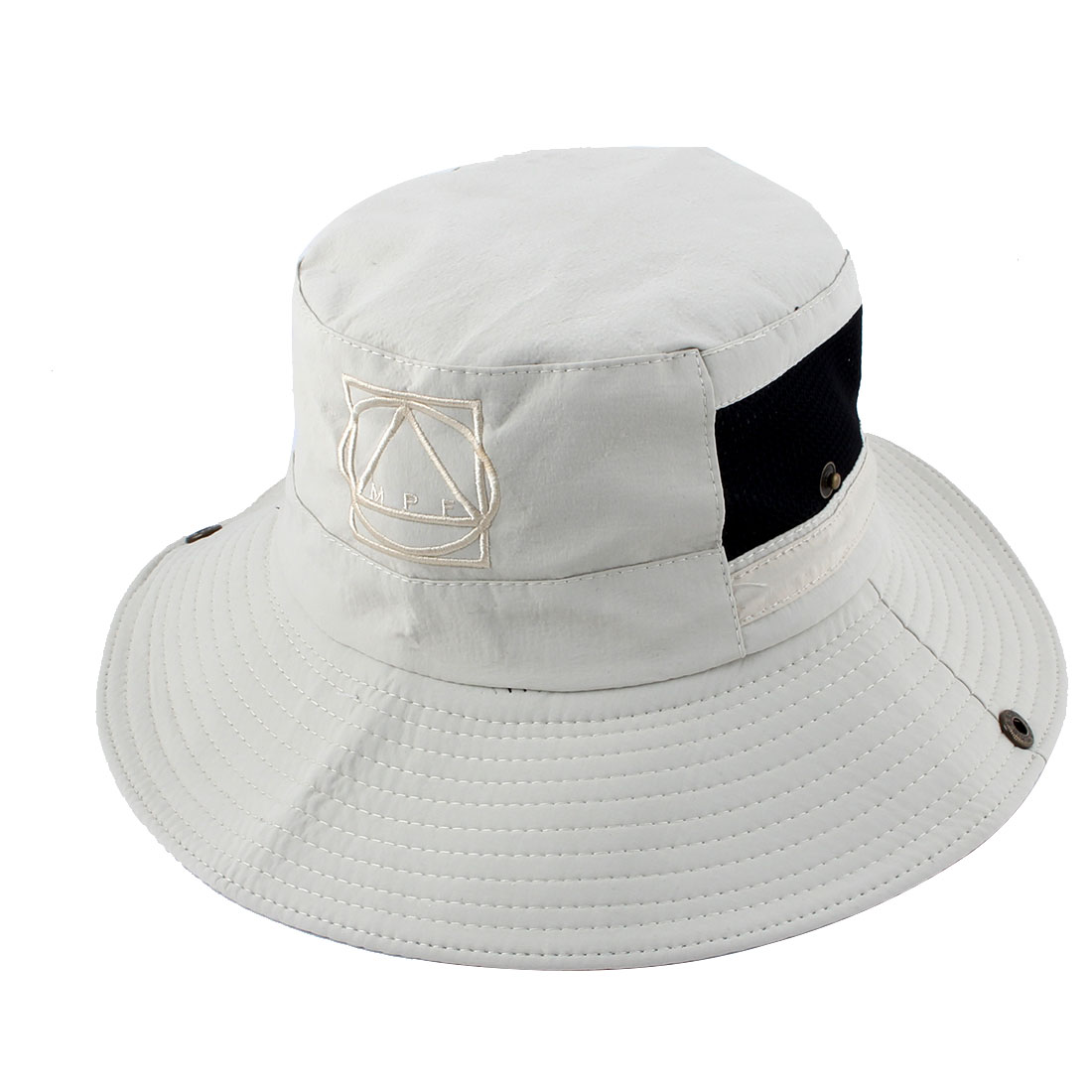Fisherman Outdoor Hunting Fishing Bucket Polyester Geometric Pattern Mesh Brim Summer Sun Protective Cap Hat Beige