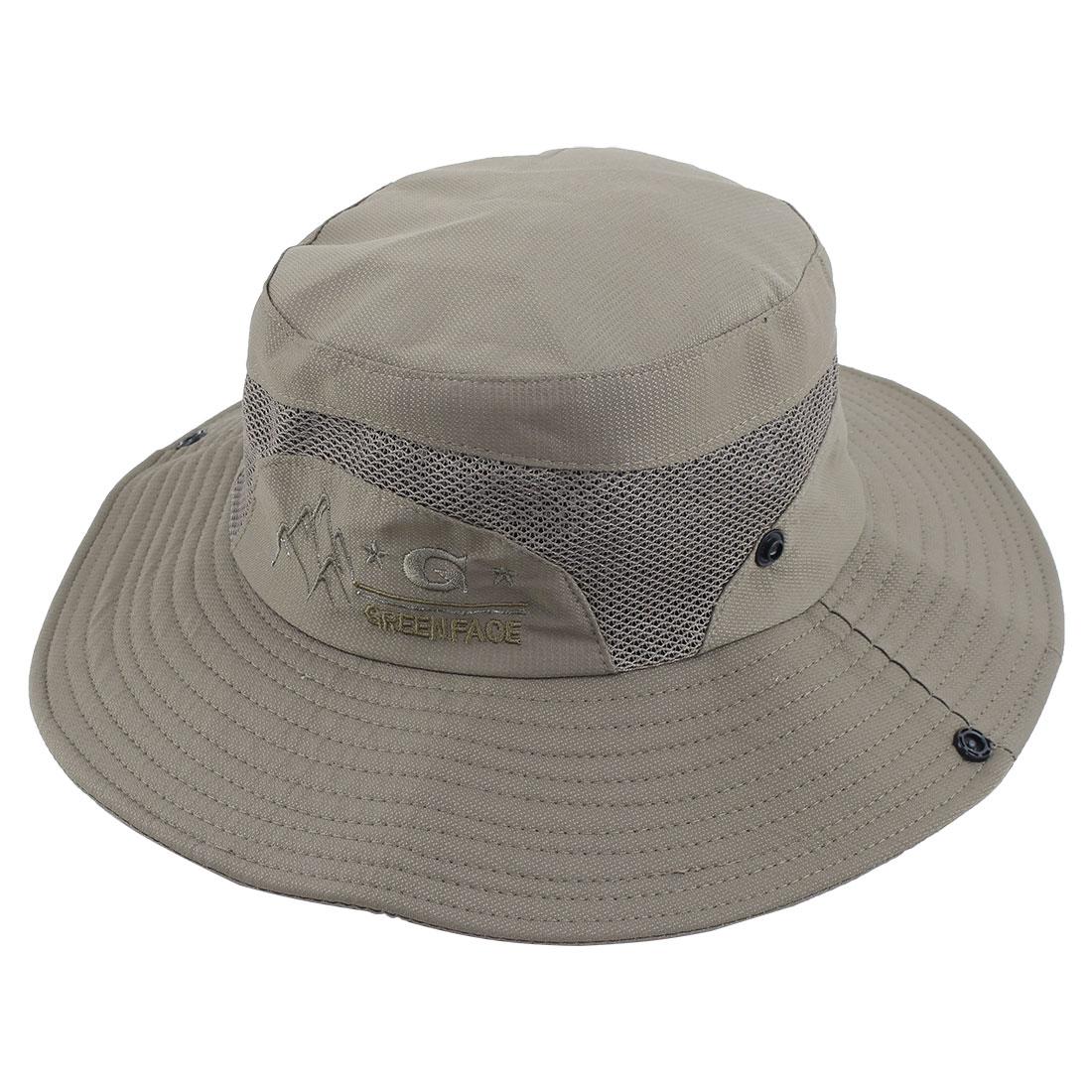 Fisherman Outdoor Fishing Climbing Cycling Adjustable Mesh Brim Floppy Summer Beach Cap Bucket Sun Hat Olive Green