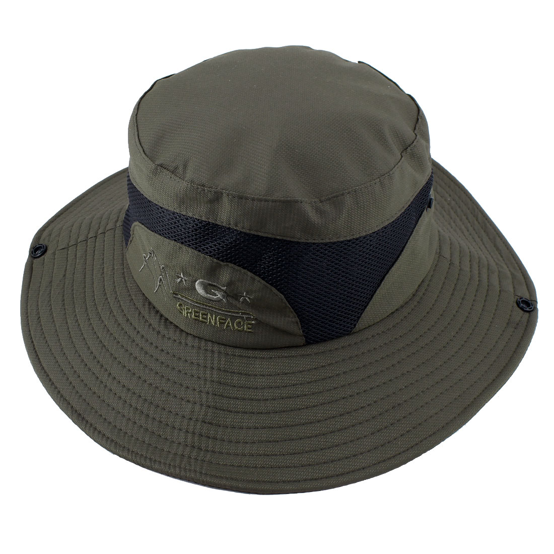 Fisherman Outdoor Fishing Climbing Cycling Adjustable Mesh Brim Floppy Summer Beach Cap Bucket Sun Hat Army Green
