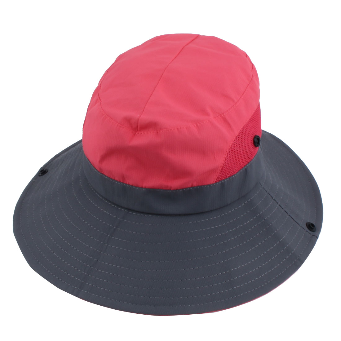 Fisherman Polyester Outdoor Sports Adjustable Strap Wide Brim Sun Protector Boonie Summer Cap Fishing Hat Watermelon Red