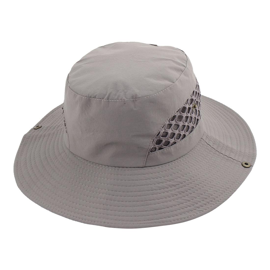 Fisherman Outdoor Fishing Hiking Travel Climbing Hunting Mesh Wide Brim Cap Headwear Sun Bucket Hat Light Gray
