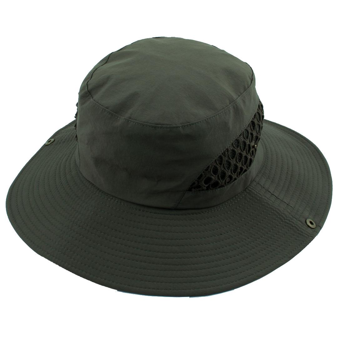Fisherman Outdoor Fishing Hiking Travel Climbing Hunting Mesh Wide Brim Cap Headwear Sun Bucket Hat Army Green