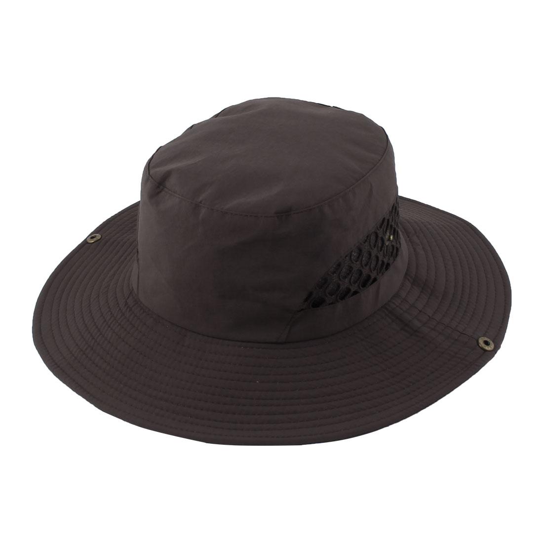 Fisherman Outdoor Fishing Hiking Travel Climbing Hunting Mesh Wide Brim Cap Headwear Sun Bucket Hat Brown