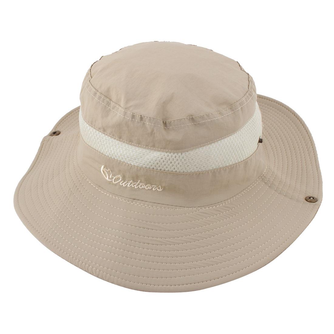 Fisherman Outdoor Hiking Hunting Travel Fishing Bucket Picnic Adjustable Mesh Wide Brim Cap Hat Beige