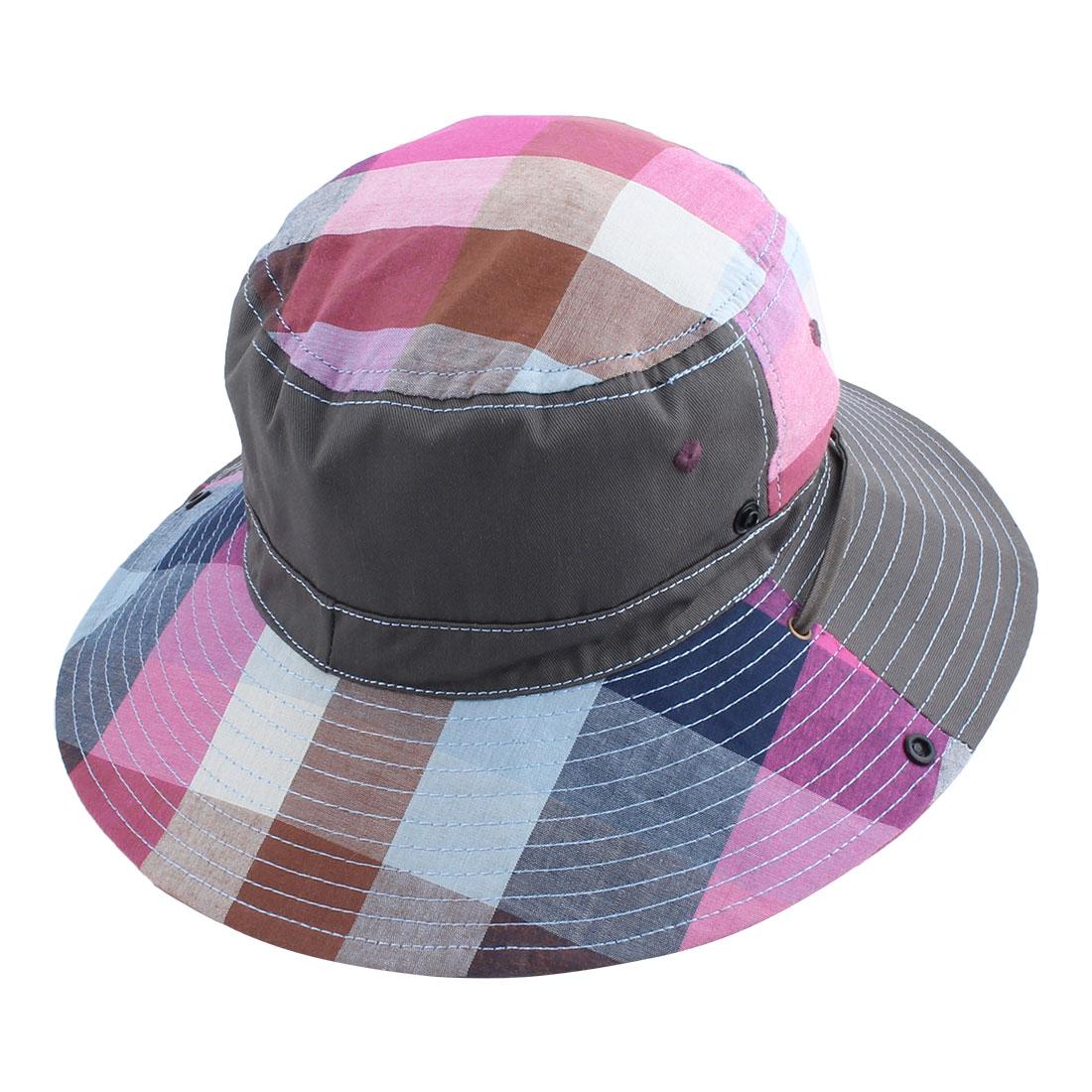 Fisherman Outdoor Fishing Hiking Picnic Holiday Plaid Pattern Wide Brim Cap Summer Beach Bucket Hat Dark Gray