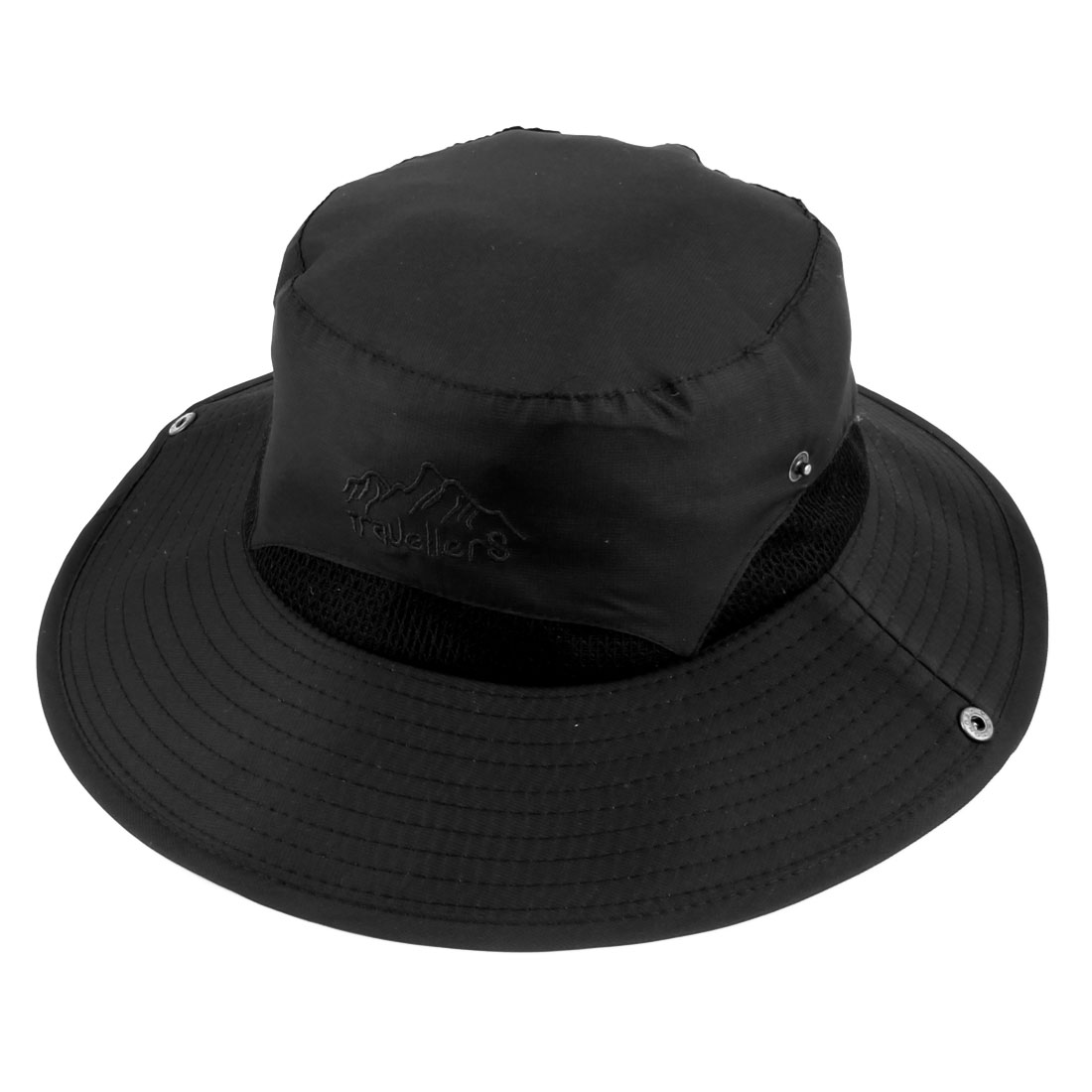 Ladies Women Polyester Foldable Head Decor Summer Protective Traveling Wide Brim Sun Cap Beach Fishing Hat Black