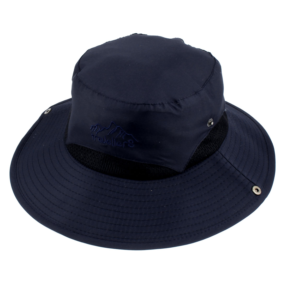 Ladies Women Polyester Foldable Head Decor Summer Protective Traveling Wide Brim Sun Cap Beach Fishing Hat Navy Blue