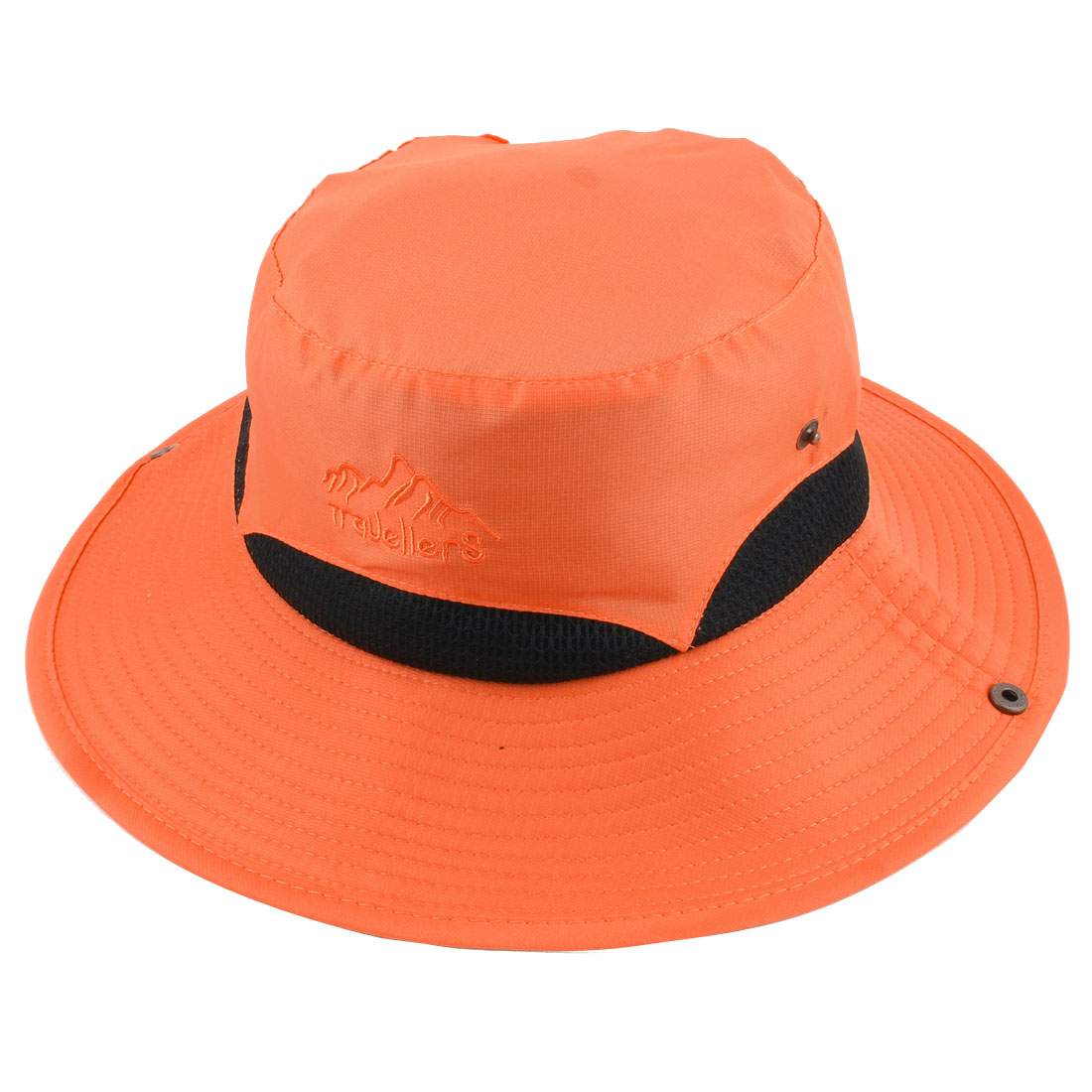 Ladies Women Polyester Foldable Head Decor Summer Protective Traveling Wide Brim Sun Cap Beach Fishing Hat Orange