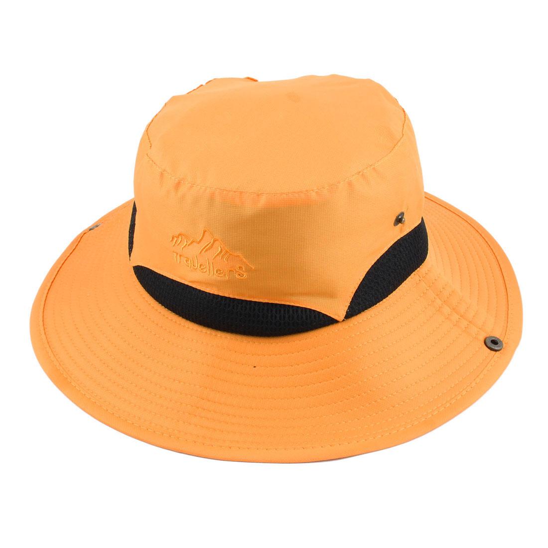 Ladies Women Polyester Foldable Head Decor Summer Protective Traveling Wide Brim Sun Cap Beach Fishing Hat Dark Yellow
