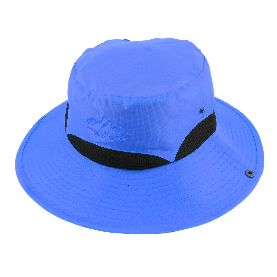 Ladies Women Polyester Foldable Head Decor Summer Protective Traveling Wide Brim Sun Cap Beach Fishing Hat Blue
