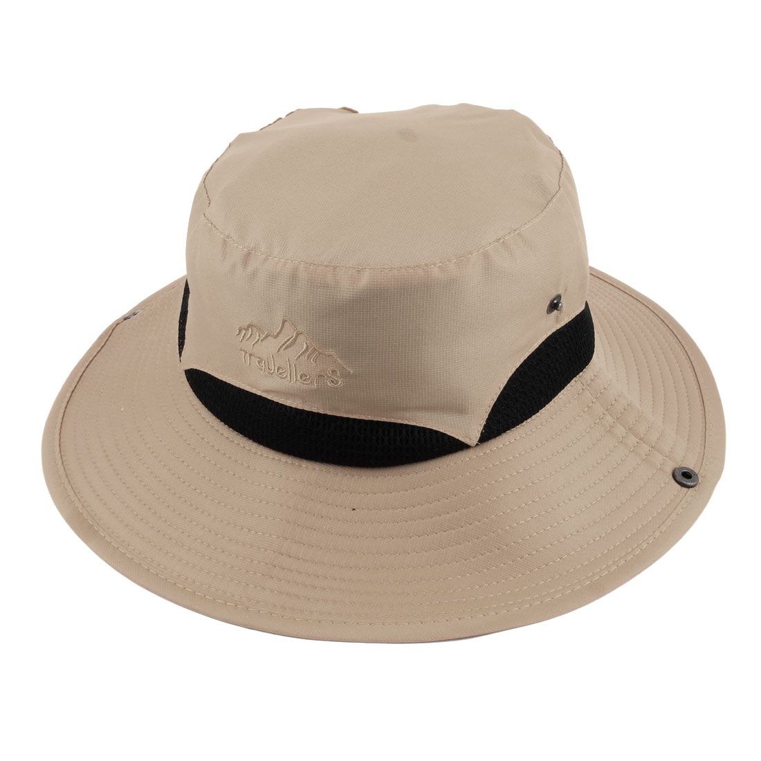 Ladies Women Polyester Foldable Head Decor Summer Protective Traveling Wide Brim Sun Cap Beach Fishing Hat Beige