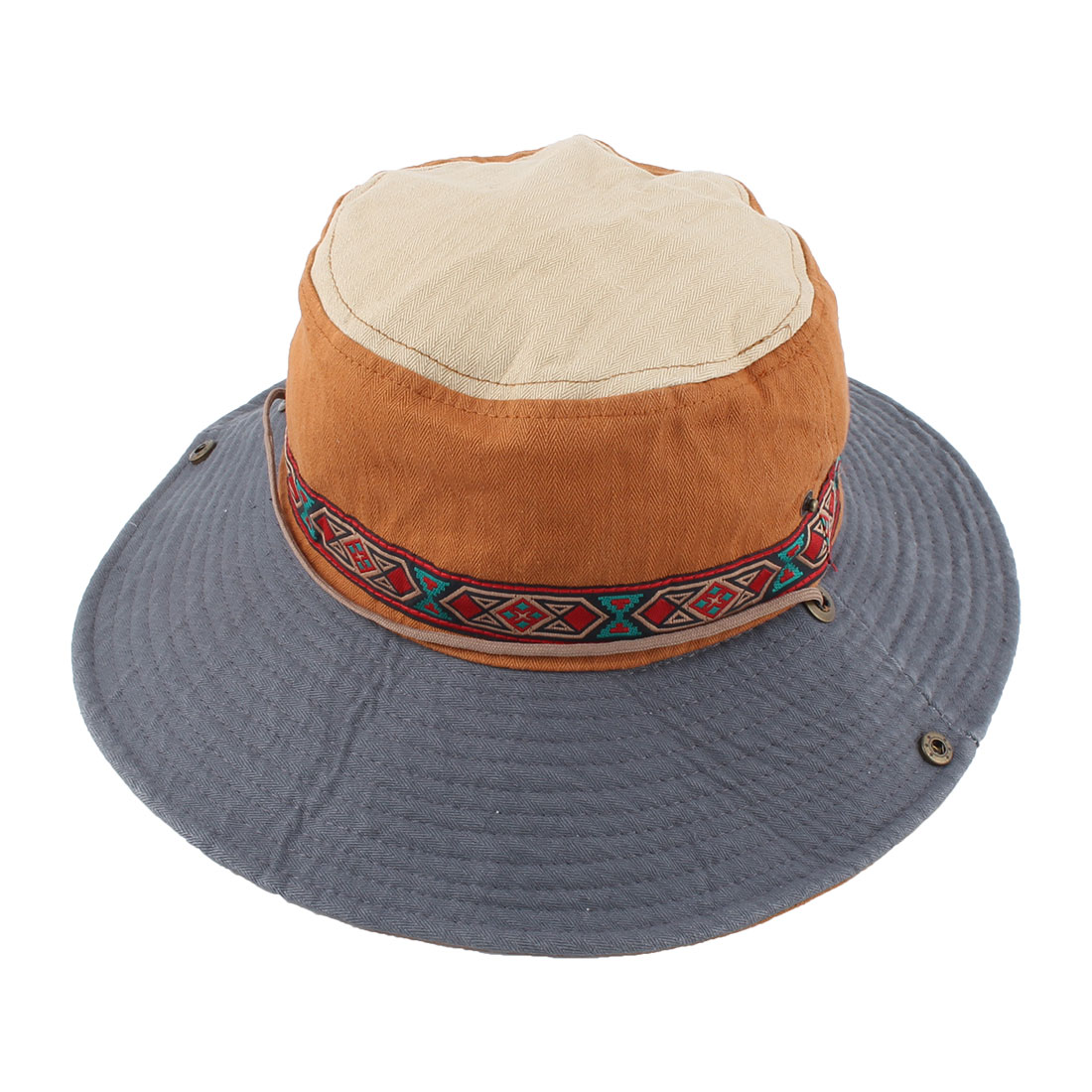 Fisherman Outdoor Fishing Hiking Cycling National Style Strap Wide Brimmed Floppy Cap Bucket Hat Brown