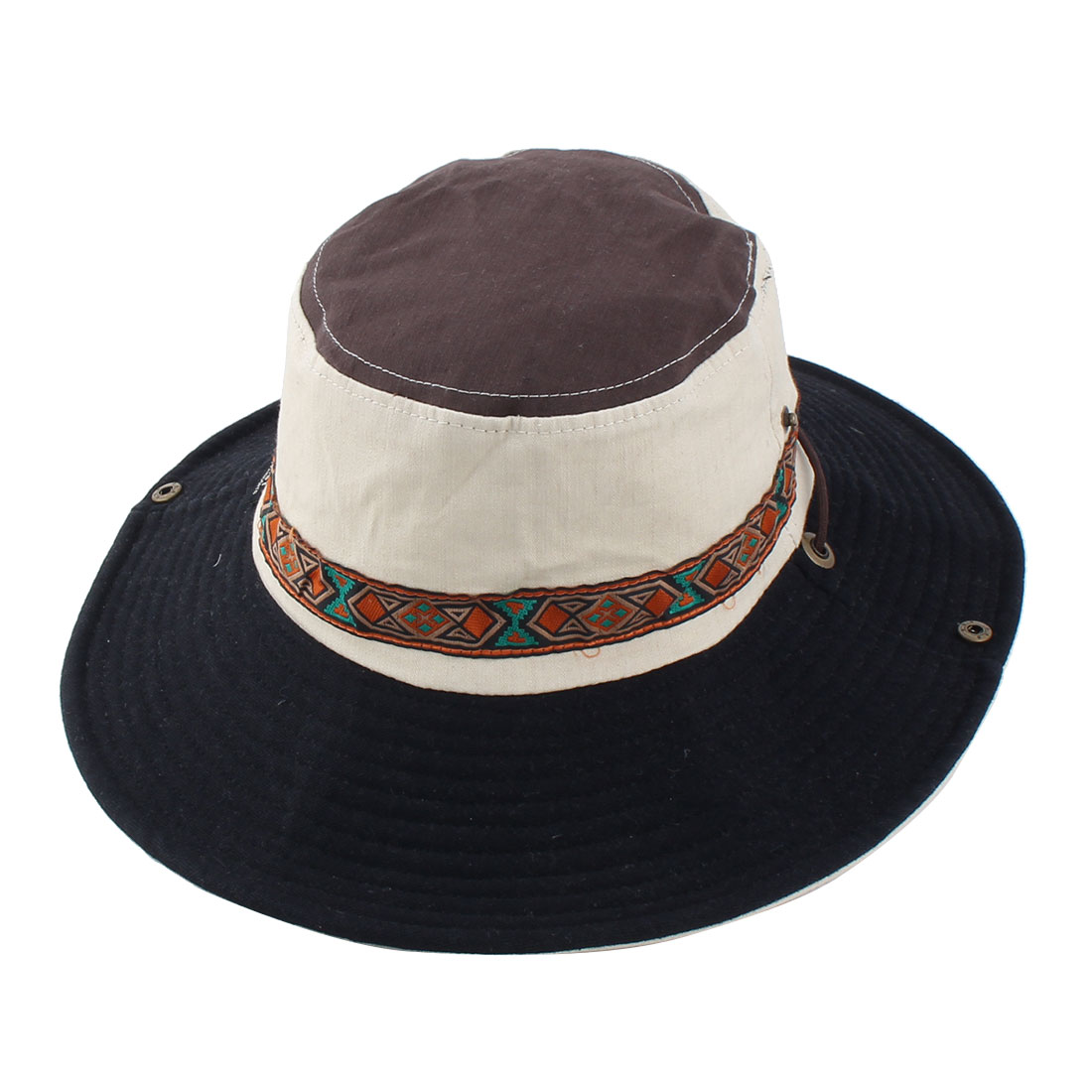 Fisherman Outdoor Fishing Hiking Cycling National Style Strap Wide Brimmed Floppy Cap Bucket Hat Beige