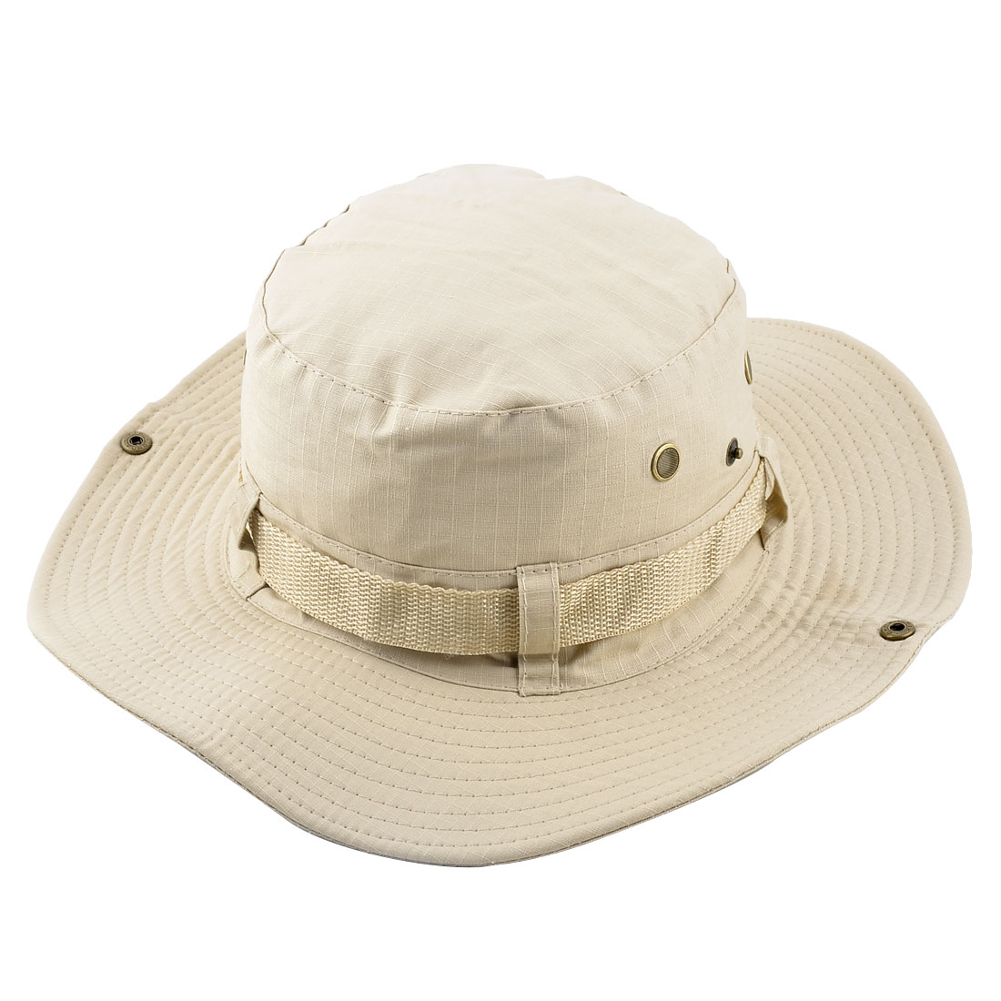 Fisherman Outdoor Sports Hiking Hunting Adjustable Strap Wide Brim Sun Protector Bucket Summer Cap Fishing Hat Beige