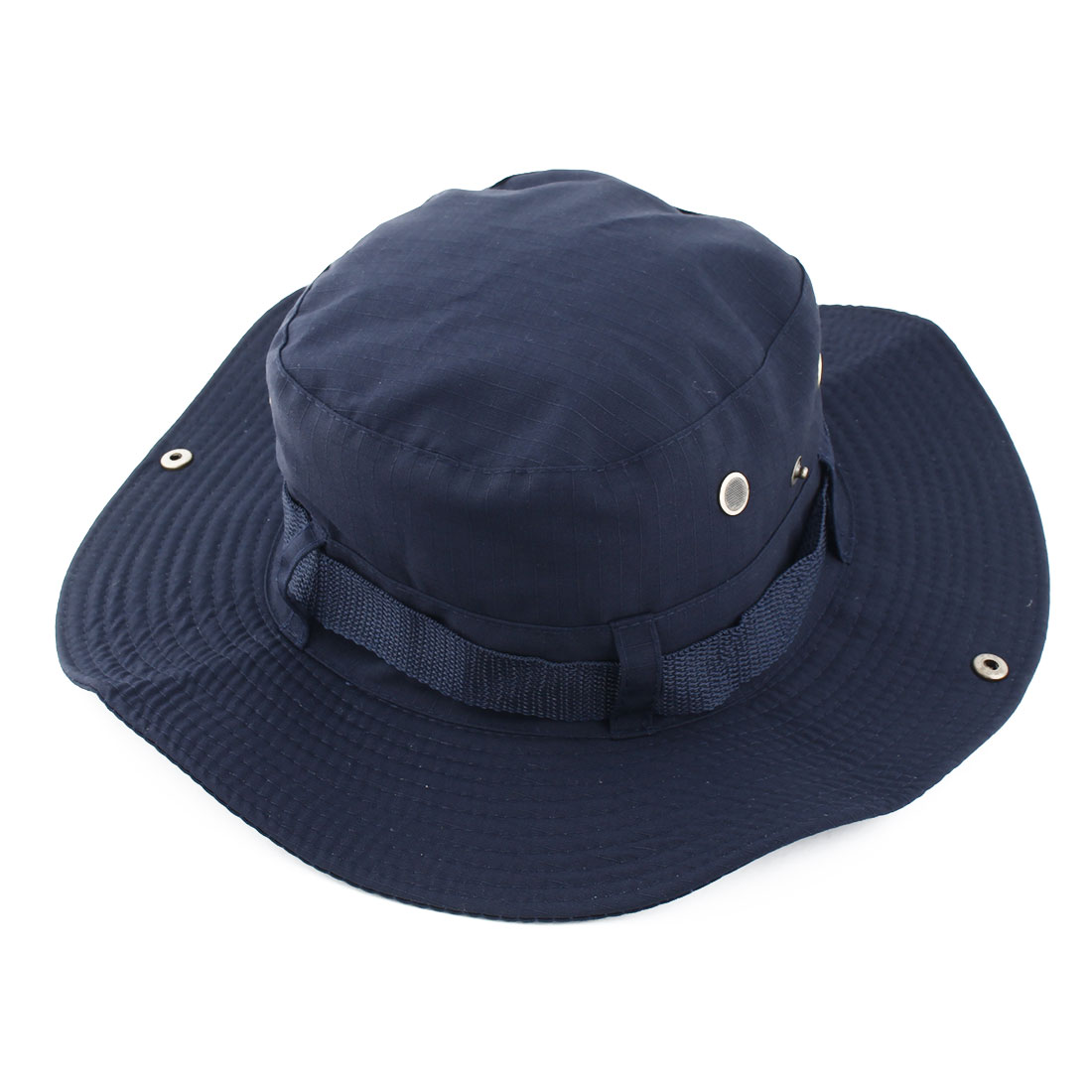 Fisherman Outdoor Sports Hiking Hunting Adjustable Strap Wide Brim Sun Protector Bucket Summer Cap Fishing Hat Navy Blue