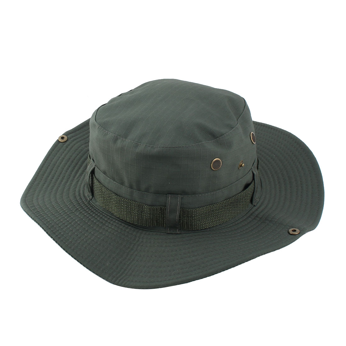 Fisherman Outdoor Sports Hiking Hunting Adjustable Strap Wide Brim Sun Protector Bucket Summer Cap Fishing Hat Army Green