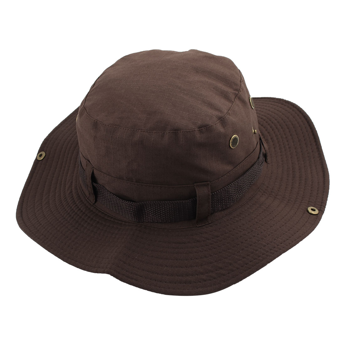 Fisherman Outdoor Sports Hiking Hunting Adjustable Strap Wide Brim Sun Protector Bucket Summer Cap Fishing Hat Coffee Color