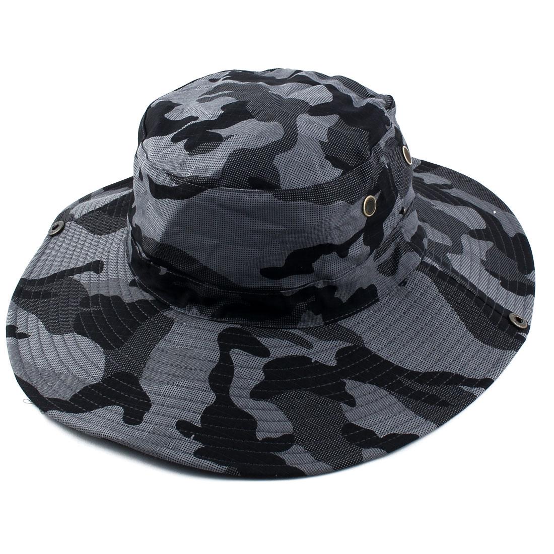 Fisherman Outdoor Sports Mountaineering Adjustable Strap Wide Brim Protective Bucket Summer Cap Fishing Hat Black Dark Gray