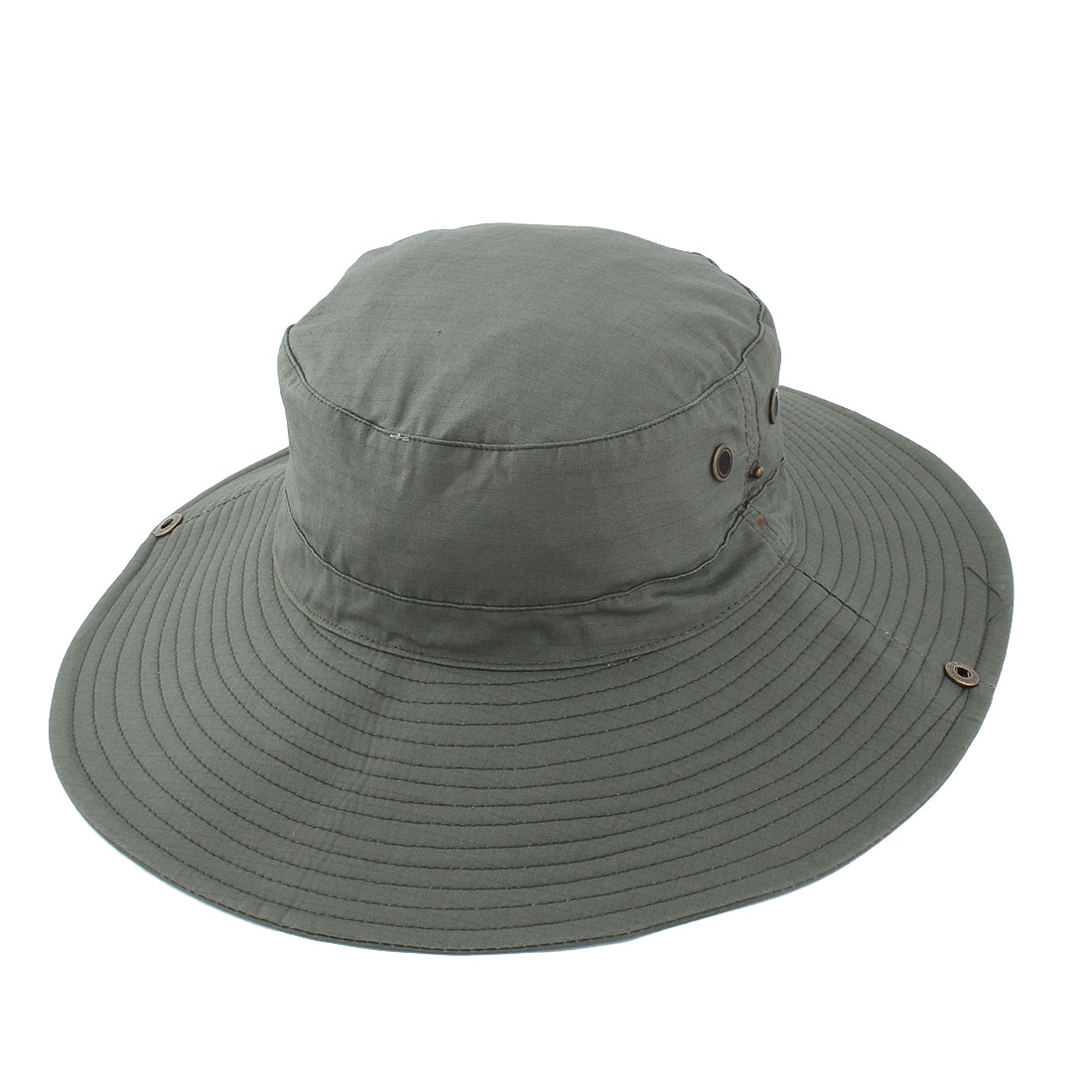 Fisherman Outdoor Sports Mountaineering Hunting Adjustable Strap Wide Brim Protective Bucket Summer Cap Fishing Hat Army Green