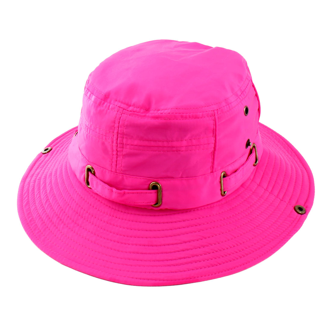 Fisherman Cotton Blends Outdoor Sports Mountaineering Hunting Adjustable Strap Wide Brim Bucket Summer Cap Fishing Hat Fuchsia