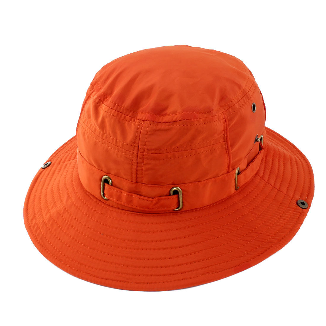Fisherman Cotton Blends Outdoor Sports Mountaineering Hunting Adjustable Strap Wide Brim Bucket Summer Cap Fishing Hat Orange