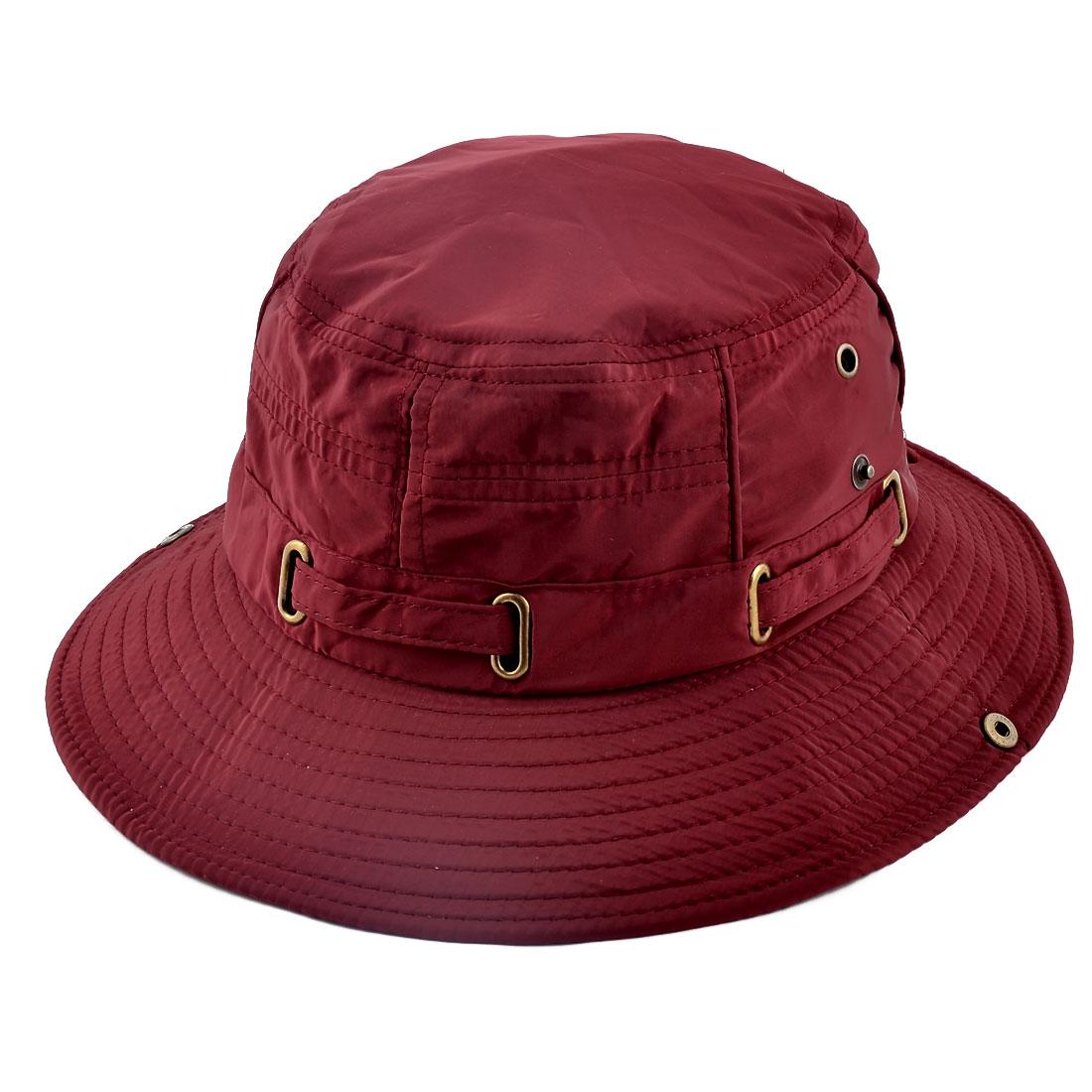 Fisherman Cotton Blends Outdoor Sports Mountaineering Hunting Adjustable Strap Wide Brim Bucket Summer Cap Fishing Hat Burgundy