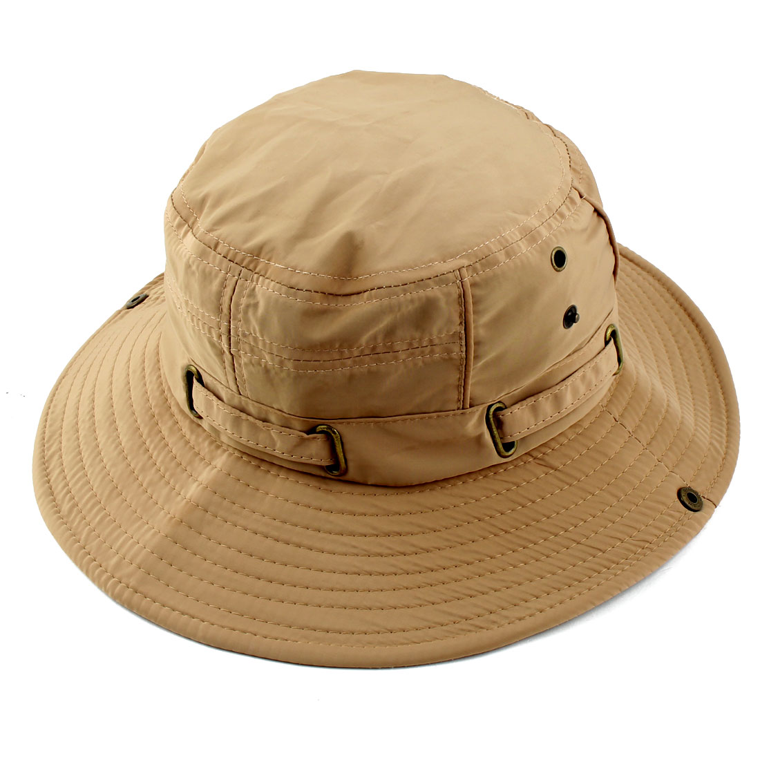 Fisherman Cotton Blends Outdoor Sports Mountaineering Hunting Adjustable Strap Wide Brim Bucket Summer Cap Fishing Hat Khaki