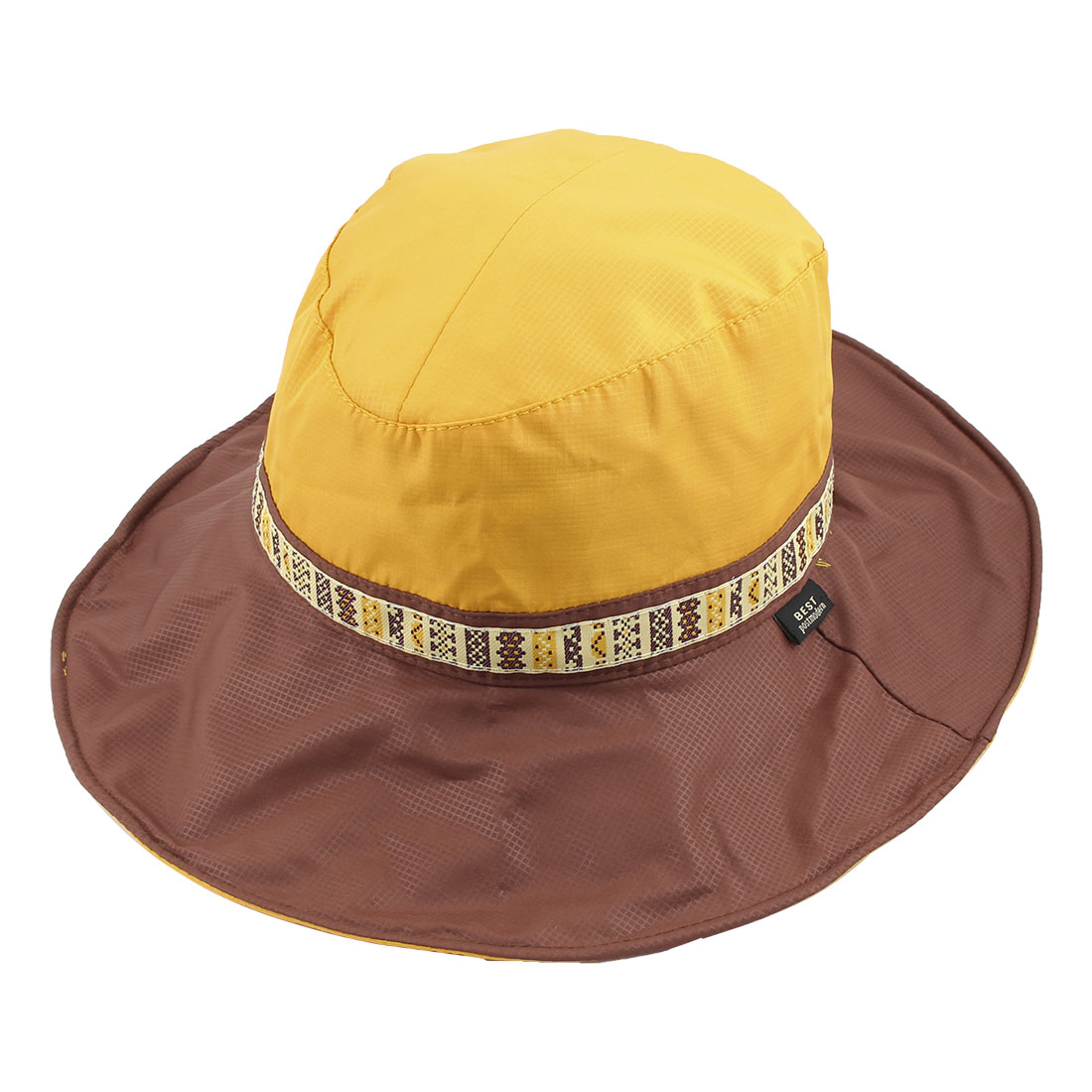 Fisherman Outdoor Fishing Travel Climbing Cycling Adjustable National Style Strap Wide Brim Floppy Cap Bucket Sun Hat Yellow