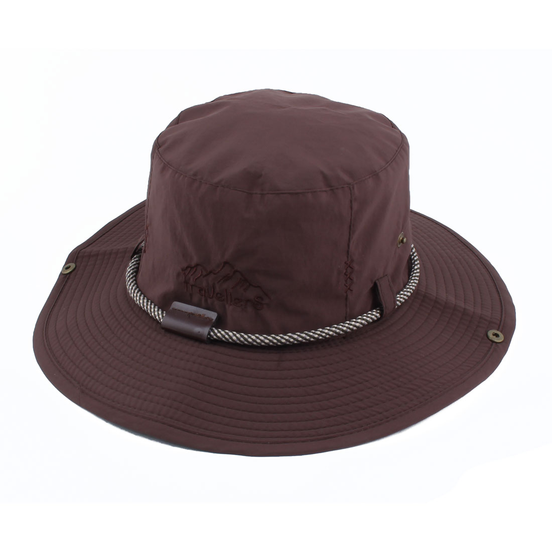 Fisherman Outdoor Sports Mountaineering Hunting Adjustable Strap Wide Brim Bucket Summer Cap Fishing Hat Coffee Color